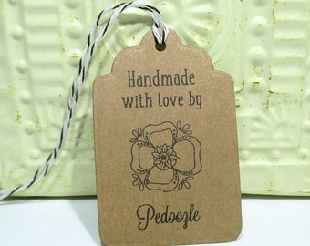 Handmade Tags -  Set of 20 - Personalized - Store tags - Kraft Brown flower  - Handmade by - Hang tags - Flowers