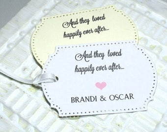And they loved happily ever after -  Set of 20 - Personalized - Favor tags - Hang tags - Wedding favors - Rehearsal dinner favors