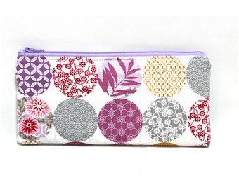 Cosmetic Case, Cord Case, Bridesmaid Gifts, All-Purpose Zipper Case, Kimono Gardens Light 9023