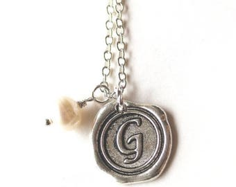 HALF PRICE SALE Alphabet personalized initial letter G charm silver and white pearl necklace