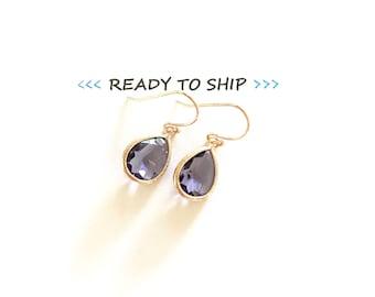RTS Purple Rose gold earrings, purple bridesmaid earrings, rose gold earrings, purple earrings