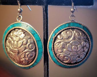 Tibetan Style Silvertone and Turquoise Floral Earrings
