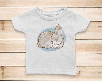 Sleeping Bunny Rabbit #1 Watercolor Baby Girl or Boy 100% Cotton Jersey T-shirt