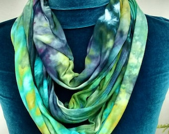 Violet and Aqua Rayon Jersey Infinity Scarf