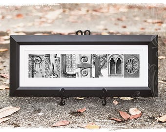 7 or More Letters - Architecture Wedding Frame Name, Personalized Last Name in Black and White Photo Letter Art, CUSTOM Name Sign