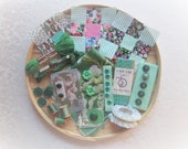 Vintage Green Sewing Supplies Lot Embellishment Inspiration Kit Lace Trims Buttons Scrapbooking Fabric Collage