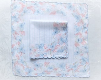 Vintage Handkerchief Set Signed Jean d'orly Paris Peach Blue White Matching Hankies Iris Floral Geometric Scalloped Cotton Printed Hanky