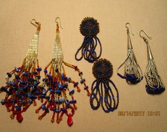 3 Pair Dangling  Designer Gypsy Native Handmade Beaded Earrings      free shipping