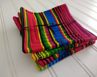 Set of 4 Quilted Coasters - Mexican Stripe
