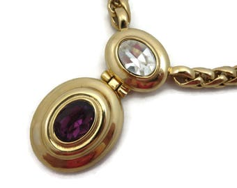 Givenchy Necklace - Gold Tone Clear and Purple Rhinestone Chain Necklace Designer Costume Jewelry