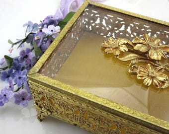 Glass Casket - Beveled Glass Ormolu Jewelry Box