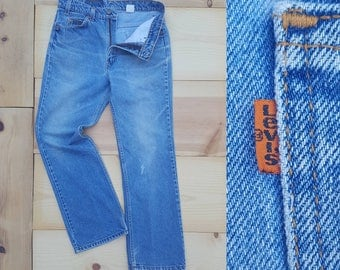 "Vintage Levi's 517 Jeans  //  Vtg 90s Made in the USA Levi Soft Distressed Faded Indigo Boot Cut Jeans  // 32"" waist"
