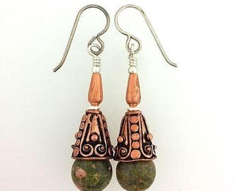 Summer Sale Earrings in Unikite Sterling Silver and Copper Scorpio Birthstone