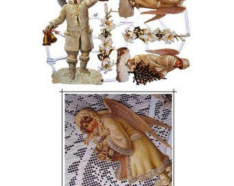 Gllittered Lithographed Die Cut Paper Scraps Snow Angels Germany  G7154G