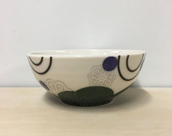 handmade small porcelain bowl: Dot Dot Doily by Meredith Host in Hunter Green & Royal Purple