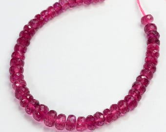 "4.1mm-5.6mm Magenta Pink Tourmaline Faceted Rondelle 5"" Strand"