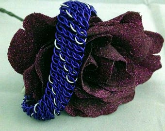 Purple and Silver Chainmaille Bracelet Made in USA