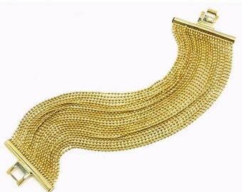 Vintage Gold Ball Bead Multi Chain Bracelet