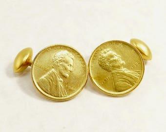 Antique Edwardian Cufflinks Gold Gilt 1909 Penny Coin