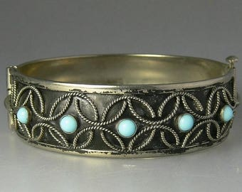Vintage Silver Plate & Turquoise Hinged Bangle Bracelet