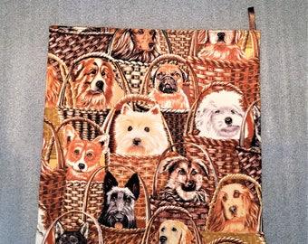 DOGS IN BASKETS Microwave Potato Bag, potato cooker, potato bag, kitchen, housewarming, birthday, holiday, gifts
