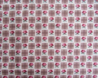 Cotton Fabric, 1 Yard Length Civil War Pattern Small Figure Cotton in Browns, Red,  Antique Victorian Look Cotton