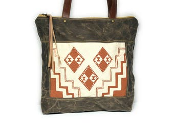 bucket tote • waxed canvas zipper tote bag • terra cotta geometric print - orange - brown waxed canvas - gifts under 100