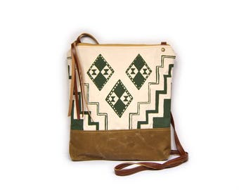 weekdayer • crossbody bag - waxed canvas • olive green geometric print - brown waxed canvas • cross body bag - fall fashion
