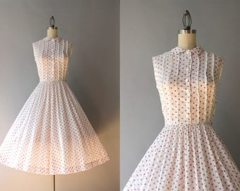 1950s Dress / Vintage 50s Sheer White Cotton Dress / 1950s Rosebud Print Lace Trimmed Cotton Dress S small