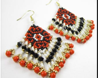 Native American Style Beadwork Fringe Seed Bead Earrings Dangle Chandelier in Red, Black, White and Gold