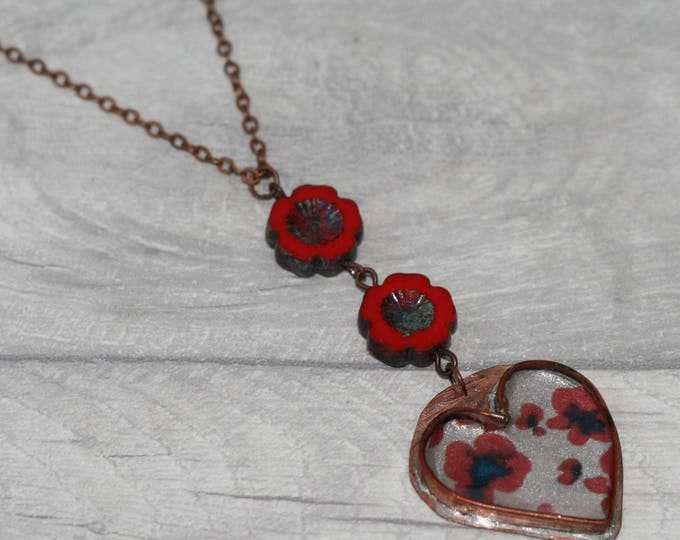 Metal Heart Necklace, Red Poppy Heart Necklace, Resin Heart Pendant