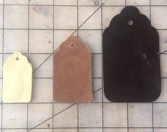 10 upcycled assorted leather and faux leather gift tags, supply, packaging, price tags, leather, brown leather, black leather, shop supply