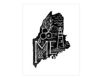 Maine State Print // 1canoe2 // Modern Art Print