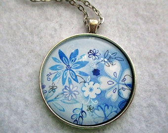 Shades Of Blue FLOWERS Cabochon PENDANT Necklace