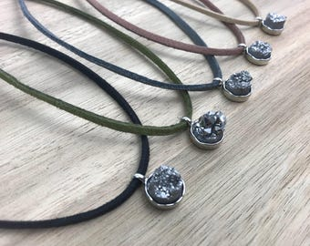 Grey Druzy Stone, Druzy Choker, Pendant, Faux Suede, Adjustable Jewelry, Suede Cord Necklace, Silver Jewelry, Women's Necklace, Jewelry