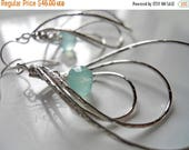 QUICKIE SALE 15% OFF, Pirouette Hoop Earrings, They Spin, Aqua Blue Chalcedony, Silver