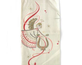 Vintage Linen Tea Towel - Angels Plying A Harp / Angle Wings / MCM Linens / Tammis Keefe Style