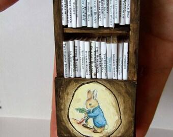 Beatrix Potter Peter Rabbit Bookcase with 25 Books - OOAK - 1/12th Scale Dollhouse Miniature Bookcase