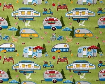New ~ Let's Go Glamping  Packed Campers Green Color ~ Anne Rowan for Wilmington Prints, Quilt Cotton