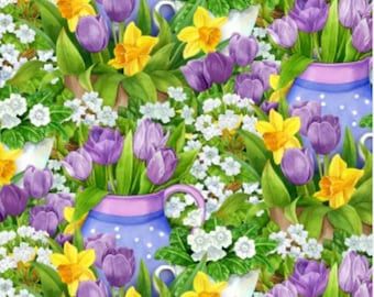 New ~ Flower Garden Green/Purple Color ~ Garden Gathering by Jane Maday for Wilmington Prints, Quilt Cotton, Easter, Spring Fabric