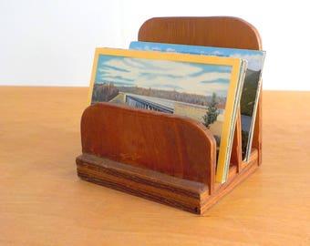 Vintage Handmade Letter Holder • Mid Century Plywood Primitive Organizer