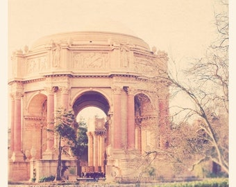SALE photography, San Francisco photo, travel photograph, Palace of Fine Arts, roman greek architecture rotunda, California, peach apricot p
