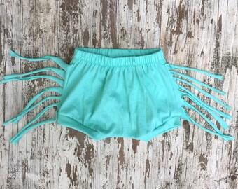 Fringe Shorts- Aqua