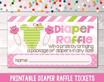 Printable Diaper Raffle Cards Pink Girls Baby Tee and Owl Pins INSTANT DOWNLOAD PDF