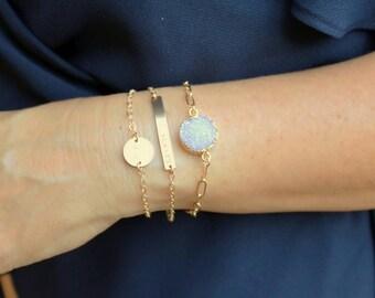 Disc Bracelet, Dainty Bracelet, Gold Bracelet, Silver or Rose, Bridesmaids Jewelry, Best Friend Gift, Sister Gift The Silver Wren