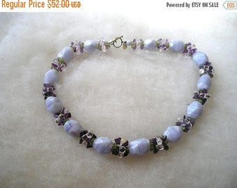 ON SALE Beautiful Ross Simons Sterling Lace Agate Amethyst Peridot Quartz Toggle Necklace
