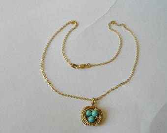 ON SALE 18K Gold Filled Birds Nest With Turquoise Eggs Pendant Necklace