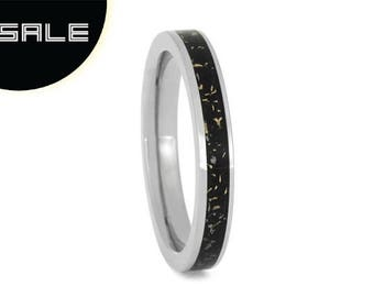 SALE - Thin Black Stardust Ring For Women With Yellow Gold Accent, Titanium Ring With Meteorite, Galaxy Ring