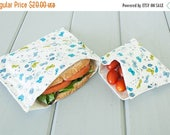 ON SALE PLASTIC-Free Organic Cotton Sandwich and Snack Bags, Reusable, Eco Friendly - Blue Butterflies - Set of 2 - Back to School