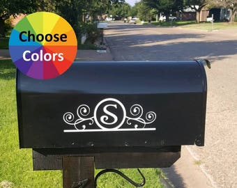 Vinyl Decals Set Of 2 Mailbox Mail Box Fancy Scroll Custom Initial 4 Letter Styles  DIY Gift Choose From 25 Colors